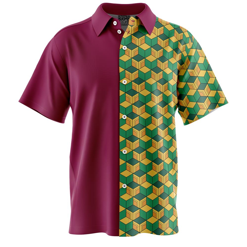 Giyu Tomioka Demon Slayer Button Down Hawaiian Shirt